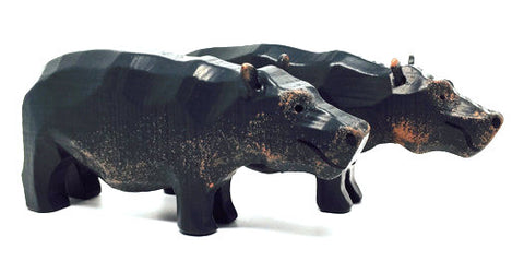 "Hippopotamuses, Pair of hand-carved - 2"" / Size Large"