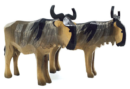 "Gnu, Pair of hand-carved - 1-1/2"" / Size Large"