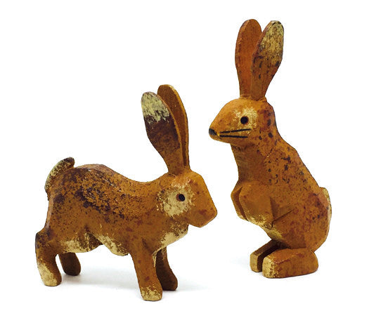 "Rabbits, Pair of hand-carved - 1-5/8"" / Size Large"