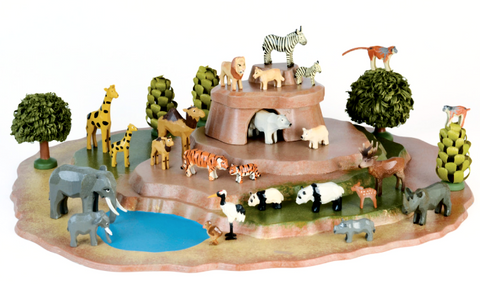 Zoo Set - Zoo Platform with 12 sets of Animals / Size Small with Young