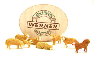 Set of Christian Werner flocked sheep/sheep dog and Wood Chip Gift Box (8 pieces)