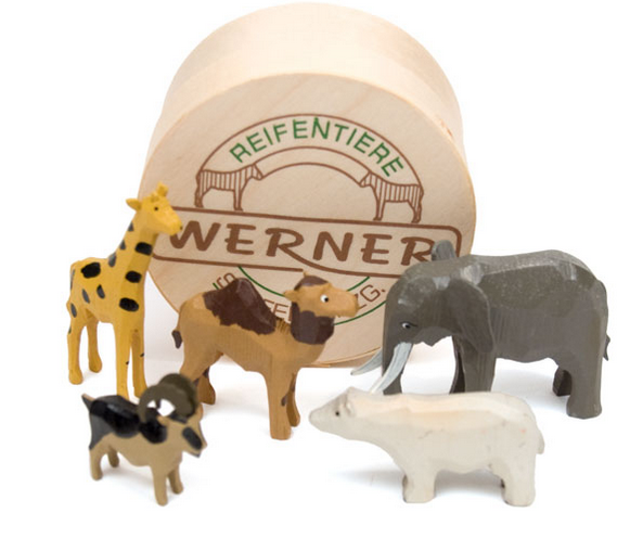 "Zoo Animals Set 1 (5 pieces) - 1"" to 2-3/4"" / hand-carved / w/Wood Chip Gift Box / Size Small"