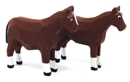 "Horses, Pair of hand-carved - 1-3/4"" / Size Small"