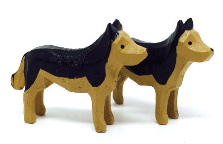 "German Shepherds, Pair of hand-carved - 1"" / Size Small"