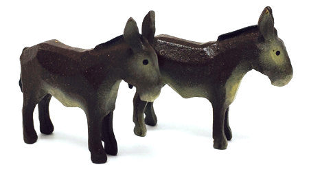 "Donkeys, Pair of hand-carved - 1-1/2"" / Size Small"