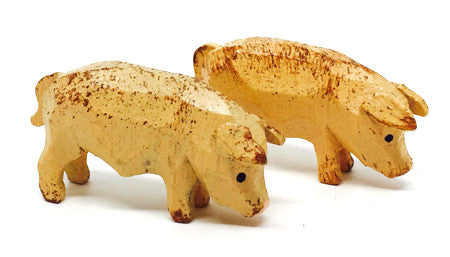"Pigs, Pair of hand-carved - 5/8"" / Size Small"