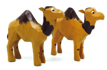 "Camels, Pair of hand-carved - 1-3/4"" / Size Small"
