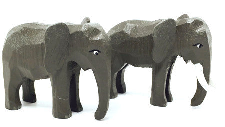 "Elephants, Pair of hand-carved - 2"" / Size Small"
