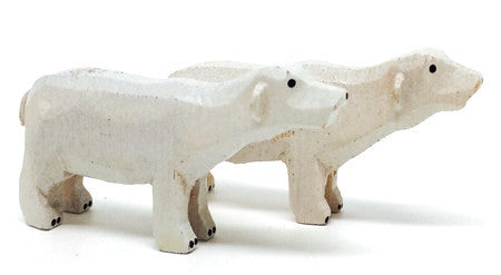 "Polar Bears, Pair of hand-carved - 1-1/4"" / Size Small"