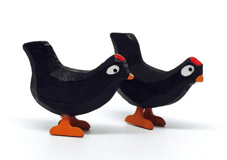 "Black Chickens, Pair of hand-carved - 1"" / Size Small"