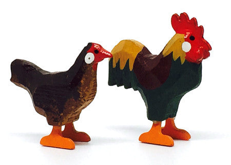 "Bantam Chickens, Pair of hand-carved - 1-1/4"" / Size Small"