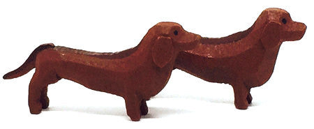 "Dachshunds, Pair of hand-carved - 5/8"" / Size Small"