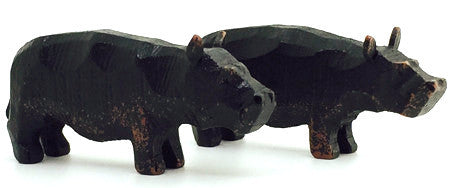 "Hippopotamuses, Pair of hand-carved - 1-1/4"" / Size Small"