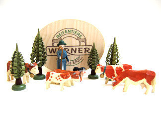 Set of Christian Werner brown/white cattle/shepherd/trees w/Wood Chip Gift Box (11 pieces)