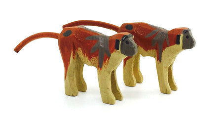 "Patas Monkeys, Pair of hand-carved - 1"" / Size Small"