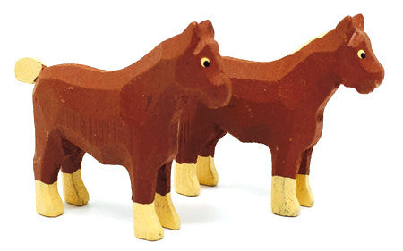"Work Horses, Pair of hand-carved - 1-3/4"" / Size Small"