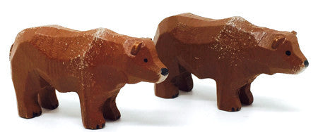 "Brown Bears, Pair of hand-carved - 1"" / Size Small"