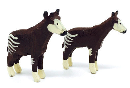 "Okapis, Pair of hand-carved - 1-1/2"" / Size Small"
