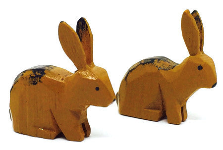 "Rabbits, Pair of hand-carved - 1"" / Size Small"