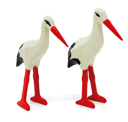 "White Storks, Pair of hand-carved - 1-1/2"" / Size Small"