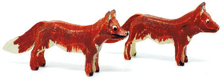 "Foxes, Pair of hand-carved - 7/8"" / Size Small"