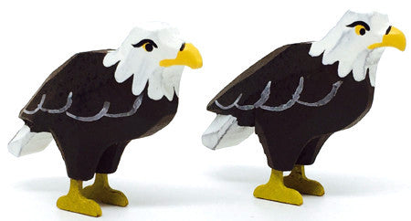 "Bald Eagles, Pair of hand-carved - 1-3/8"" / Size Small"