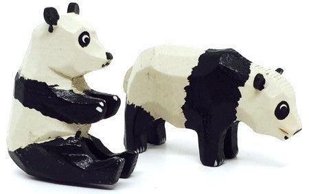"Pandas, Pair of hand-carved - 1-1/4"" / Size Small"