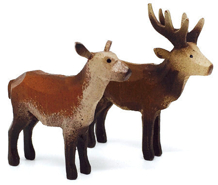 "Red Deer, Pair of hand-carved - 1-7/8"" / Size Small"