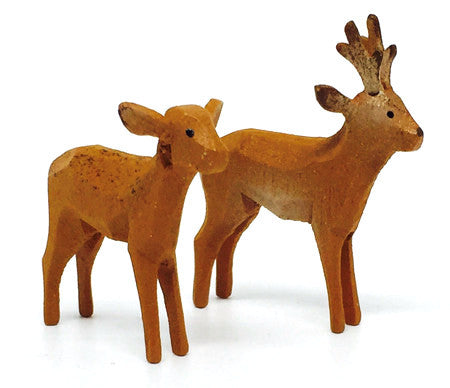 "Roe Deer, Pair of hand-carved - 1-1/2"" / Size Small"