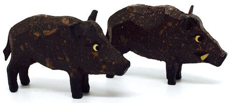 "Wild Boars, Pair of hand-carved - 7/8"" / Size Small"