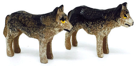 "Wolves, Pair of hand-carved - 15/16"" / Size Small"