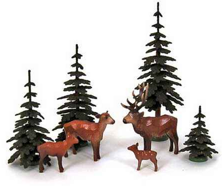 Set of Christian Werner 4 Deer and Trees (8 pieces)