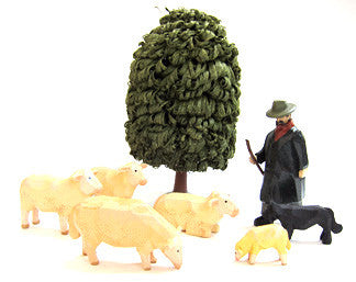 Set of Christian Werner Frisian Sheep/Shepherd/Tree (8 pieces)