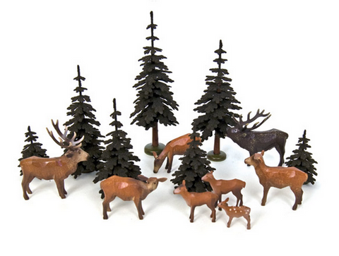 Large Set of Christian Werner Red Deer with Trees (15 pieces)