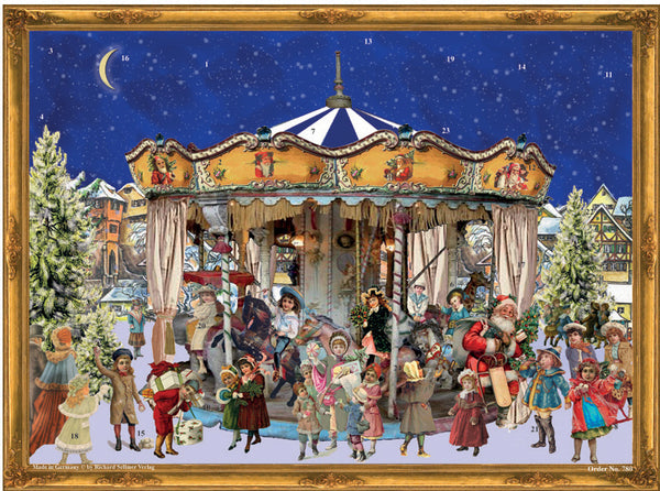 Carousel with Victorian Children - Advent Calendar GREETING CARD