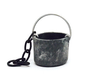 """Pewter"" Pail with chain - 5/8"" tall"