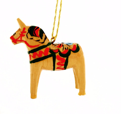 Natural Wood Dala Horse Christmas Ornament - 2""