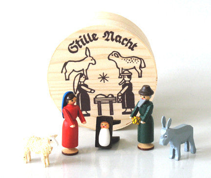 Nativity Set in a Wood Chip Gift Box