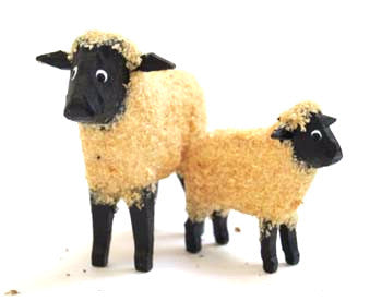 "White with black face sheep and lamb, 1-5/8"" and 1"""