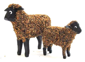 "Brown with black face sheep and lamb:  1-5/8"" and 1"""