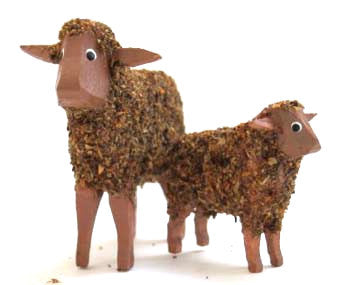 "Brown with brown face sheep and lamb:  1-5/8"" and 1"""