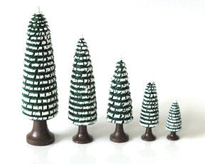 "Set of 5 dark green, snow-capped, hand-shaved trees / 1-1/2"" to 4-3/4"""