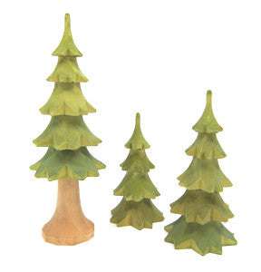 "Set of 3 Hand-Carved Trees, 4"" - 7"""