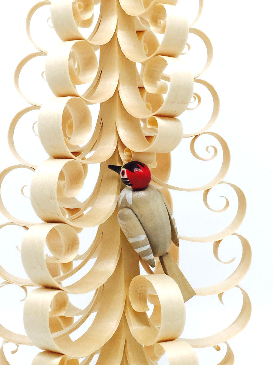 Hand-shaved and Carved Tree, Spanbaum with Woodpecker - 12""