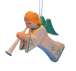Trumpeting Angel with Green Wings Ornament