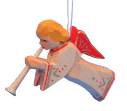 Trumpeting Angel with Red Wings Ornament