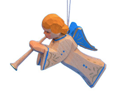 Trumpeting Angel with Blue Wings Ornament