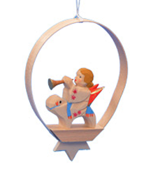 Angel with Orange Wings in Shaved-Wood Ring Ornament