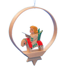 Singing Angel in Shaved-Wood Ring Ornament
