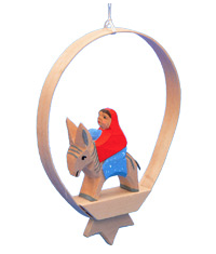 Mary with Jesus in Shaved-Wood Ring Ornament